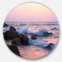 Designart 'Rocky Coast with Foam Waves' Seashore Disc Metal Wall Art