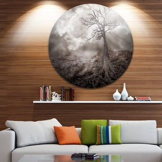 Designart 'Lonely Tree Holding the Moon' Landscape Art Disc Metal Wall Art