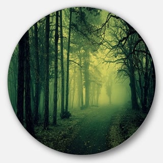Designart 'Green Light in Thick Mist Forest' Landscape Photo Round Wall Art