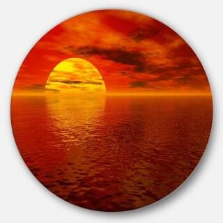 Designart 'Sun Falling to Yellow Ocean' Seashore Disc Metal Artwork