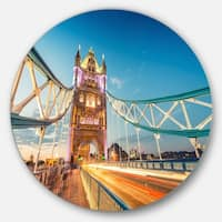 Designart 'Beautiful View of Tower Bridge London' Cityscape Round Metal Wall Art