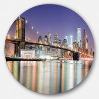 Designart 'New York City with Freedom Tower' Cityscape Large Disc Metal Wall art