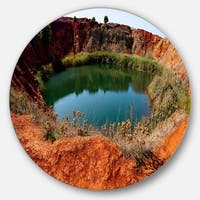 Designart 'Bauxite Mine with Lake' Landscape Photo Disc Metal Artwork