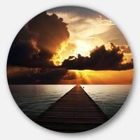 Designart 'Indefinite Wooden Pier to Gloomy Sea' Sea Bridge Disc Metal Artwork