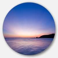 Designart 'Bright Blue Sky and Waters at Sunset' Seashore Large Disc Metal Wall art