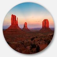 Designart 'Sunset in Monument Valley' Landscape Round Wall Art