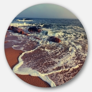Designart 'Foaming Waves Kissing Wide Beach' Seashore Disc Metal Artwork