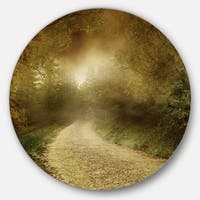Designart 'Country Road Through Fall Scenery' Landscape Photo Circle Wall Art