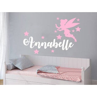 Girl Name Fairy Stars Personalized Name Nursery Baby Kids Custom Name Sticker Decall size 44x60 Colo