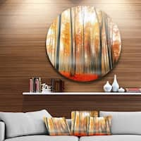 Designart 'Red and Yellow Leaves in Fall' Landscape Photo Disc Metal Wall Art