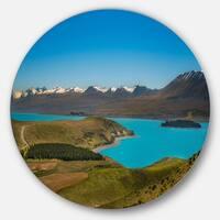Designart 'Fantastic Calm Landscape of New Zealand' Landscape Circle Wall Art