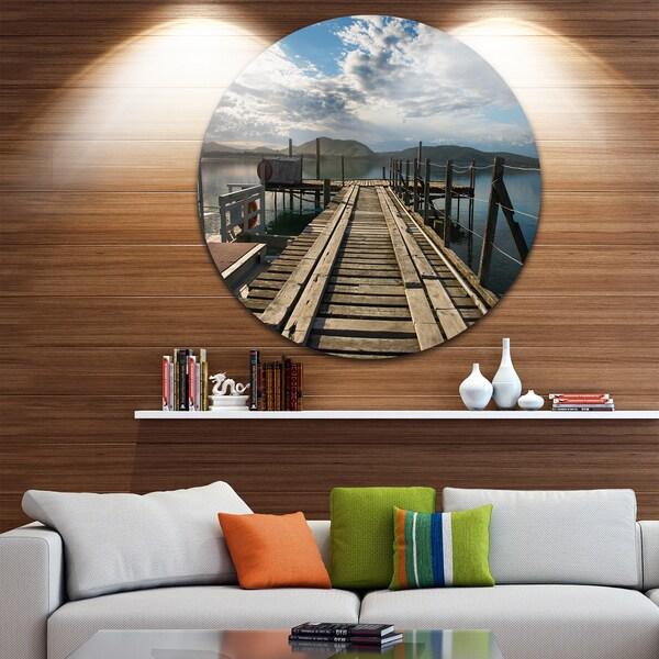 Designart Wooden Bridge In New Zealand Sea Bridge Round Metal Wall Art