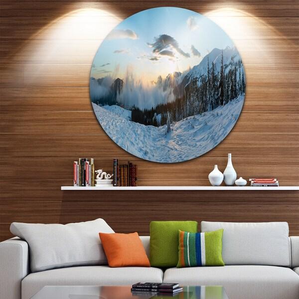 Designart 'Morning Winter Carpathian Mountains' Landscape Disc Metal Artwork