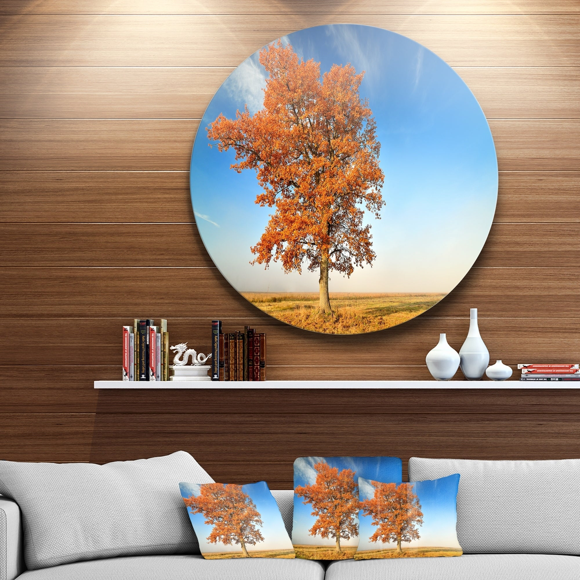 Designart Colorful Lonely Fall Tree Landscape Photo Circle Wall Art Overstock 14253061
