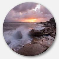 Designart 'Stormy Waves in Beautiful Australia Beach' Seashore Disc Metal Artwork