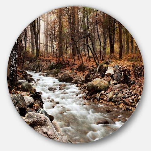Designart 'Stream in Autumn Forest' Landscape Photography Round Wall Art