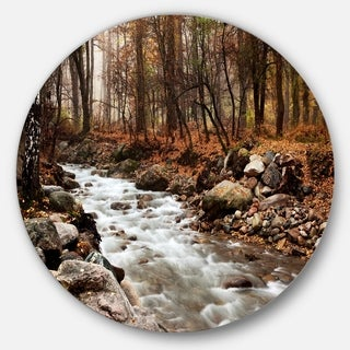 Designart 'Stream in Autumn Forest' Landscape Photography Round Wall Art