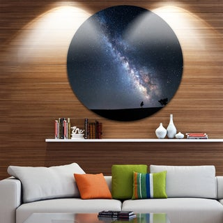 Designart 'Summer Night with Stars in Crimea' Landscape Photo Round Metal Wall Art