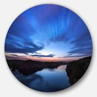 Designart 'Blue Night Sky with River' Landscape Photo Disc Metal Wall Art
