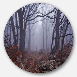 Designart 'Dark Foggy Forest in Autumn' Landscape Photo Round Metal Wall Art