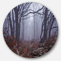 Designart 'Dark Foggy Forest in Autumn' Landscape Photo Round Metal Wall Art