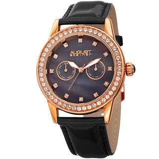 August Steiner Women's Swarovski Crystal Multifunction Leather Rose-Tone/Black Strap Watch