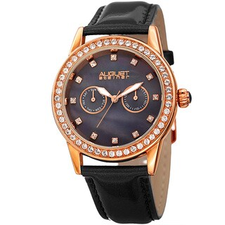 August Steiner Women's Swarovski Crystal Elements Multifunction Leather Rose-Tone/Black Strap Watch with FREE GIFT