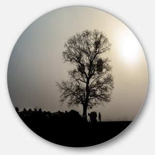 Designart 'Frosty Spring Morning Sunrise with Tree' Landscape Round Wall Art