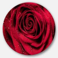 Designart 'Red Rose Petals with Rain Droplets' Floral Circle Metal Wall Art