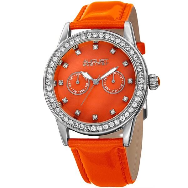 August Steiner Women's Swarovski Crystal Multifunction Leather Silver-Tone/Orange Strap Watch