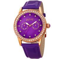 August Steiner Women's Swarovski Crystal Multifunction Leather Rose-Tone/Purple Strap Watch