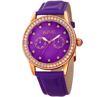 August Steiner Women's Swarovski Crystal Multifunction Leather Rose-Tone/Purple Strap Watch with FREE Bangle