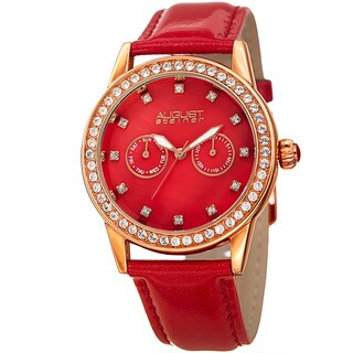 August Steiner Women's Swarovski Crystal Elements Multifunction Leather Rose-Tone/Red Strap Watch with FREE GIFT