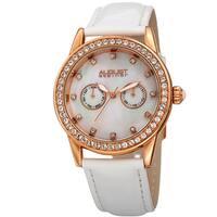 August Steiner Women's Swarovski Crystal Multifunction Leather Rose-Tone/White Strap Watch