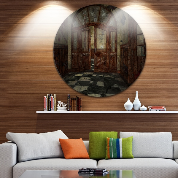 Designart 'Abandoned Interior' Landscape Painting Round Metal Wall Art
