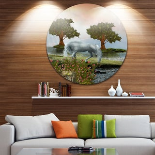 Designart 'White Horse and Green Trees' Landscape Art Round Wall Art