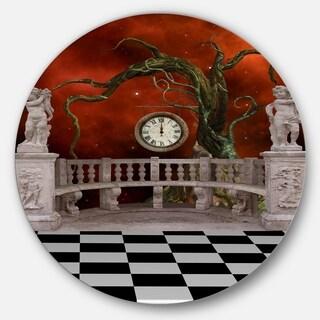 Designart 'Balcony with Clock and Tree Angels' Art Disc Metal Wall Art