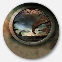 Designart 'Blue Fantasy Landscape with Frame' Art Photo Disc Metal Artwork