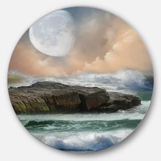 Designart 'Roaring Ocean Under Moon' Seascape Photo Round Metal Wall Art