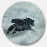 Designart 'Pegasus in the Heaven' Animal Art Large Disc Metal Wall art