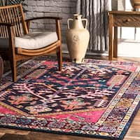nuLOOM Southwestern Tribal Inspired Medallion Border Area Rug