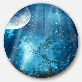 Designart 'Big Moon in Blue Forest' Landscape Art Disc Metal Artwork