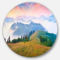 Designart 'Foggy Carpathian Panorama' Landscape Photo Disc Metal Wall Art