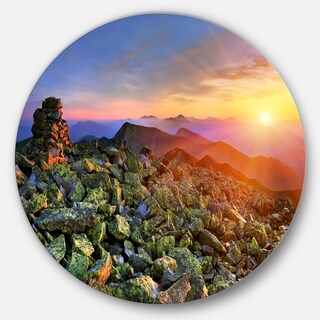 Designart 'Bright Sun in Carpathian Mountains' Landscape Photo Circle Wall Art