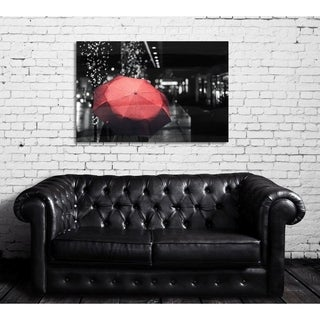 Oliver Gal 'Under The Red Umbrella' Nature and Landscape Wall Art Canvas Print - Red, Black
