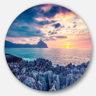 Designart 'Spring Sunset Over Monte Cofano' Landscape Photo Disc Metal Artwork