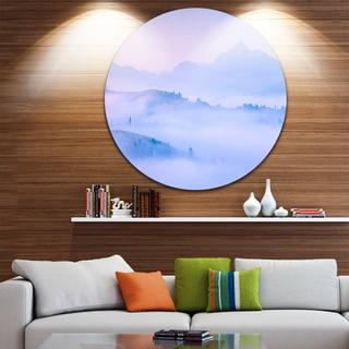 Designart 'Silhouettes of Morning Mountains' Landscape Photo Circle Wall Art