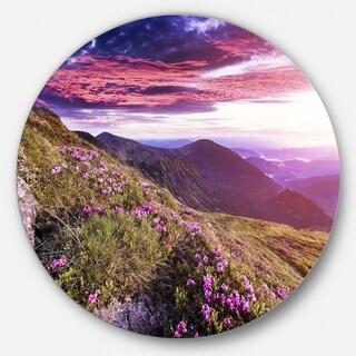 Designart 'Rhododendron Flowers in Hills' Landscape Photo Round Wall Art