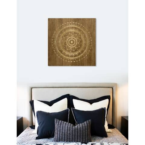 Oliver Gal 'Mandala Foil and Natural Wood' Abstract Wall Art Canvas Print - Brown, Gold