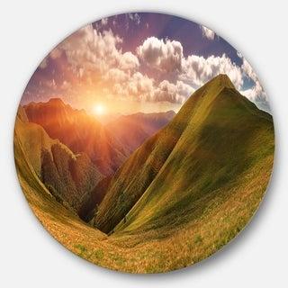 Designart 'Sunrise Over Green Mountains' Landscape Photo Circle Wall Art